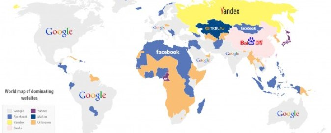 Its a facebook africa a map of the worlds most visited websites webempires a company that creates apps and visuals on interesting web companies technology and business recently published a map of the worlds gumiabroncs Choice Image