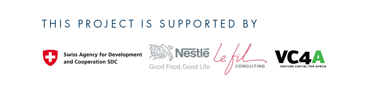 The project is supported by: Nestle, VC4A, Swiss Agency